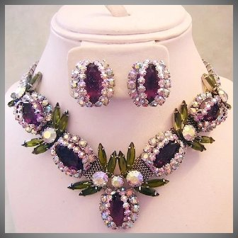 LAVISH COUTURE Over The Top Purple / Amethyst & OLIVINE Rhinestones STATEMENT Necklace & Earrings