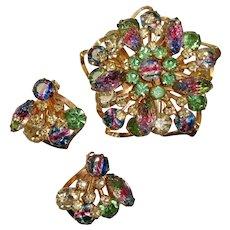1960's IMPRESSIVE Iris, Rainbow, Textured & COLORFUL Rhinestones Pin & Earrings