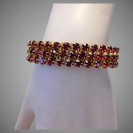 1950's RUBY RED Rhinestones 3 Row Expansion / Stretch Bracelet