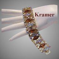 KRAMER Captivating CARVED Glass & Rhinestones Bracelet
