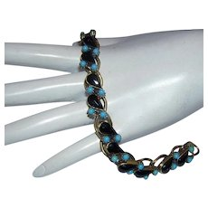 Impressive GARNET Rhinestones & TURQUOISE Baubles Bracelet