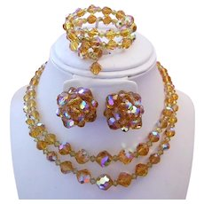 1950's Honey / Citrine CRYSTALS Necklace, Bracelet & Earrings Parure