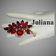 JULIANA Regal RED Rhinestones Book Piece Pin / Brooch