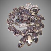 EISENBERG  Black Diamond Rhinestones With Ribbon Icing Pin / Brooch