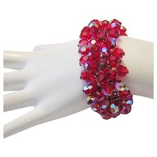 1960's Sassy RED Crystals Cha Cha Expansion Bracelet Signed