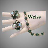 WEISS Brilliant EMERALD Green Rhinestones Bracelet & Earrings