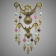 GOLDETTE Dazzling Dangling Pin With Art Glass