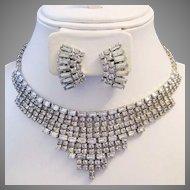 WEISS Rhinestone Baguette Princess Necklace Plus Earrings