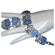 1960's CAPTIVATING Carved & Textured GLASS & Rhinestones Bracelet & Earrings