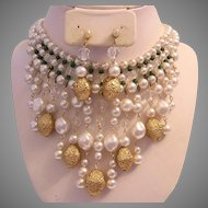 1950's FABULOUS Crystals Textured Golden Baubles & Faux Pearls Bib Necklace & Dangle Earrings