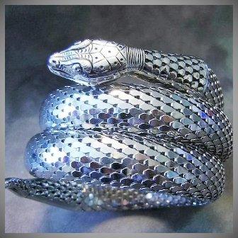 Whiting & Davis 3 Coil Silver Tone Vintage Snake Bracelet