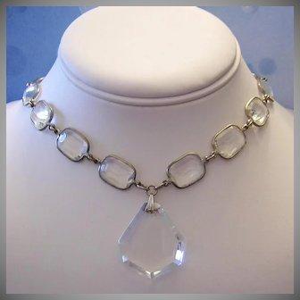 1920's CZECH ART DECO Bold Beautiful ROCK Crystal Necklace