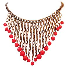 1920's Art Deco RED GLASS & Brass Dangling BIB Necklace