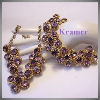 KRAMER Captivating Shades of AMETHYST Rhinestones BOLD Necklace & Bracelet