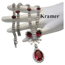 KRAMER Oval OPULENT Ruby RED Rhinestones & Baguettes SUPERB Necklace