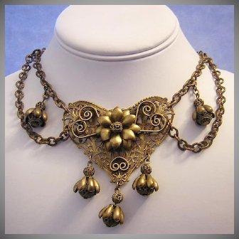 1920's ART NOUVEAU / Art Deco Decadent DETAILED Dangling Festoon Necklace