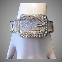 1970's RHINESTONES & Silver Sparkles Buckle Design CLAMPER Bracelet