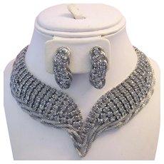 1973 RUNWAY Dramatic ALLURING Mesh & Rhinestones Necklace & Earrings