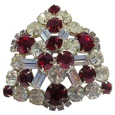 1960's DECADENT Dimensional RED & Diamond BAGUETTE Rhinestones Bold Pin / Brooch