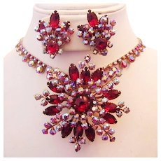 Glitzy RED & RED AB Rhinestones SNOWFLAKE Large Pin & Earrings