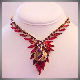 JULIANA Book Piece PURPLE & Ravishing RED Rhinestones Spun Wire Necklace