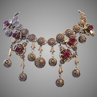 1925 ART DECO / NOUVEAU Impressive Dramatic Dangling Bib Necklace w/ Patent Number