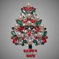 1970's FABULOUS Faux Pearl & Rhinestones CHRISTMAS Tree Pin Designer