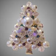 1960's Crystals RHINESTONES & Snow White Faux Baroque Pearls CHRISTMAS Tree Pin