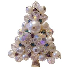 1960's Crystals RHINESTONES & Snow White Faux Baroque Pearls CHRISTMAS Tree Pin