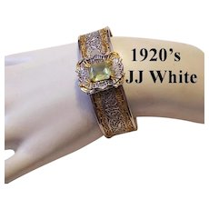 1920's Art Deco DESIGNER Signed Two Tone Pierced CUFF Bracelet With Yellow SAPPHIRE Glass Stone