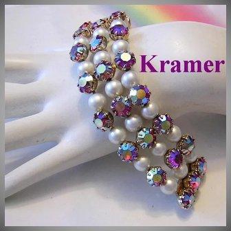 KRAMER Exquisite Raspberry RED AB Rhinestones & Faux Pearl Bracelet