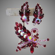 JULIANA Exquisite RED Rhinestones BOOK Featured Pin & Earrings