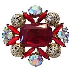 JULIANA Jello RED Rhinestones & Filigree Balls Pin / Brooch Book Piece