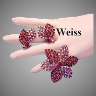 WEISS Raspberry Red & Sparkling RED AB Rhinestones Scarce Pin / Brooch & Earrings