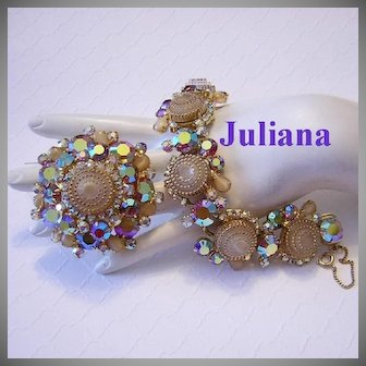 JULIANA Birthday Cake Design Book Featured GLASS & Rhinestones Bracelet & Pin/ Brooch