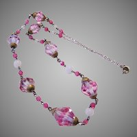 1930's INTRIGUING 2 Tone Pink Crystal & Glass Necklace