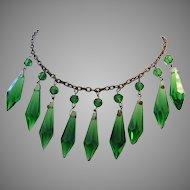 1920's / 30's SASSY Emerald Green ICE DROP Crystals Bib Necklace