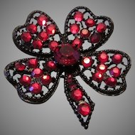 WEISS RED Rhinestone HEARTS & 4 Leaf Clover RARE Book Piece Pin / Brooch