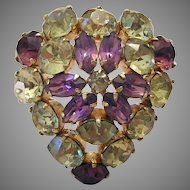 KRAMER Rare HEART Pin Purple & Canary Rhinestones