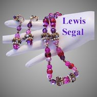 1960's LEWIS SEGAL Pinks & Purple CRYSTALS Glass Rhinestones & Filigree Necklace & Dangle Earrings