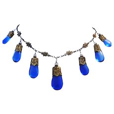Circa 1880 CHINESE EXPORT Signed Blown Cobalt Glass 800 SILVER Ornate Bib Necklace