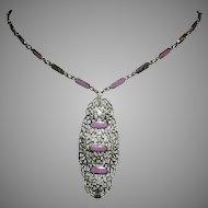 1920's ART DECO Orchid / LAVENDER Enamel Pierced Rhodium Necklace