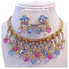 1960's Ravishing RUNWAY Rhinestone & Colorful CRYSTALS Dangling Necklace & Earrings