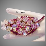JULIANA Fuchsia & Dangling CRYSTALS Seldom Seen Pin / Brooch