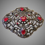 Early CUT STEEL & RED Glass / Rhinestones Large PIN / Brooch