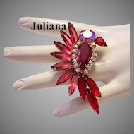 JULIANA Bird In Flight RED Rhinestones Book Piece Pin / Brooch