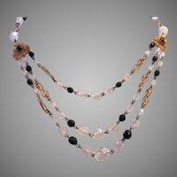 1920's Crystal CZECHOSLOVAKIA Signed Bib Festoon Necklace
