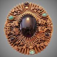Circa 1880 VICTORIAN Cannetille Jade & Jet BOLD Ornate Pin / Brooch