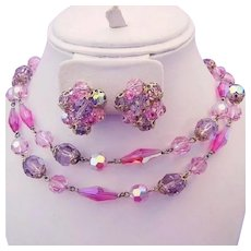 1960's DAZZLING PINK & Lavender GLASS / Prystal Crystals Necklace & Earrings