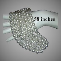 1960's 58 Inch GLASS White Pearls Hand Knotted Necklace
